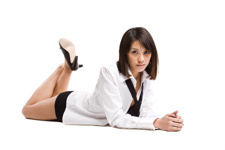 Een geïsoleerde shot van een prachtig sexy Aziatisch meisje Stockfoto