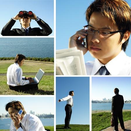 Een collage van een Aziatische zakenman werken buitenshuis
