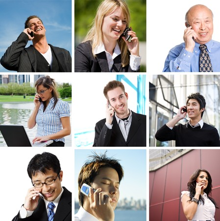 A collage of diverse business people talking on the phone photo