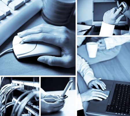 A collage of technology related images showing people working with computers in blue tone Stock Photo