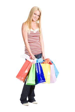 A beautiful caucasian girl carrying shopping bags Stock Photo - 4492709