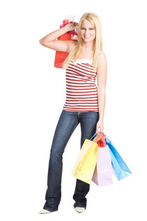 A beautiful caucasian girl carrying shopping bags Stock Photo - 4492711