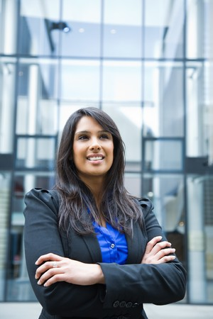 indian ethnicity: A shot of a smiling indian businesswoman outdoor Stock Photo