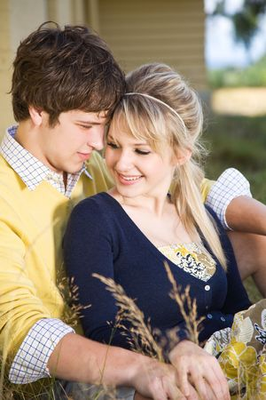 A portrait of a beautiful young caucasian couple in love Stock Photo - 4739763
