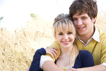 A portrait of a young caucasian couple in love Stock Photo - 4739765