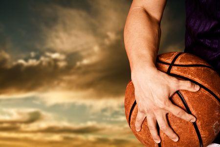 basketball shot: A shot of a basketball player outdoor