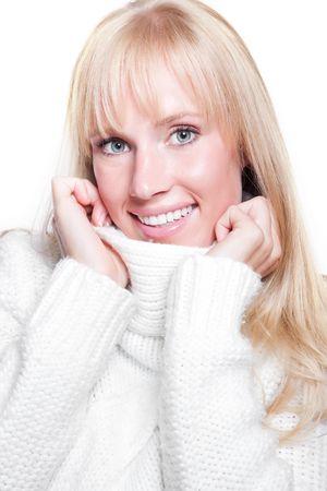 A portrait of a happy beautiful caucasian winter woman