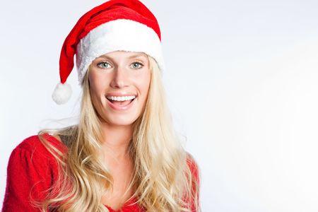 winter woman: A portrait of a beautiful caucasian christmas santa girl