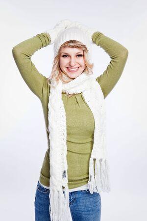 winter woman: A portrait of a happy beautiful caucasian winter woman