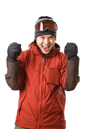 An isolated shot of a happy asian snowboarder photo