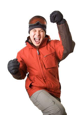 Een geïsoleerde shot van een gelukkig asian snowboarder