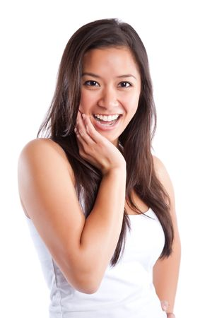 delighted: An isolated shot of a beautiful happy asian woman Stock Photo