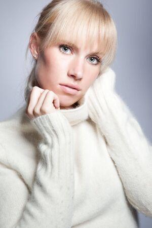 A portrait of a beautiful caucasian winter woman photo
