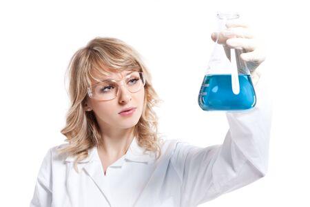 Een geïsoleerde shot van een vrouwelijke wetenschapper Stockfoto