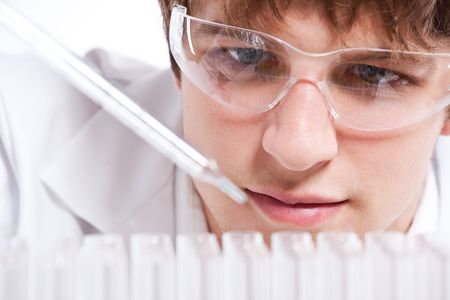 An isolated shot of a male scientist photo