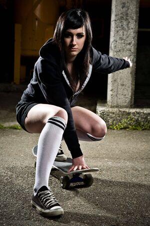 A shot of a beautiful skater teen girl photo