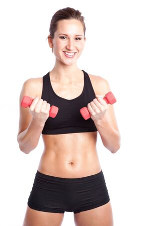 An isolated shot of a beautiful caucasian woman doing exercise Stock Photo - 5853991