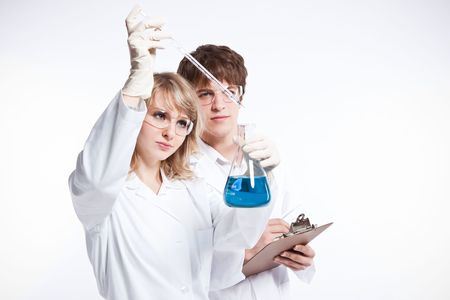 A shot of a male and female caucasian scientists 写真素材