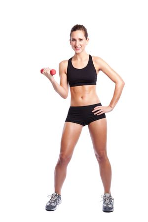 An isolated shot of a beautiful caucasian woman doing exercise