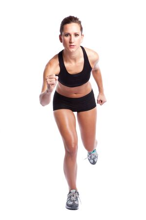 An isolated shot of a beautiful caucasian woman doing exercise photo