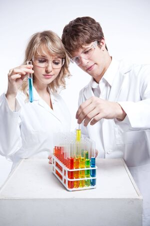 A shot of a male and female caucasian scientists Stock Photo - 6165833