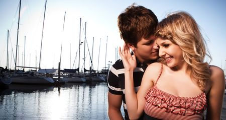 A shot of a romantic caucasian couple in love outdoor Stock Photo - 6198338