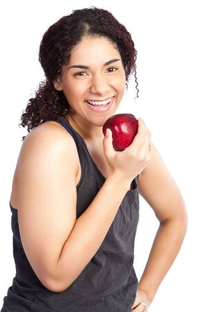 An isolated shot of a woman eating an apple photo