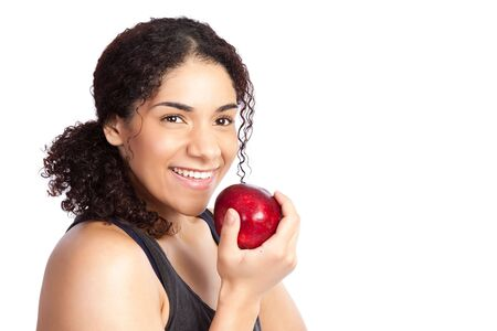 An isolated shot of a woman eating an apple Stock Photo - 6246017
