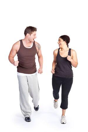ジョグ: 彼女のパーソナル トレーナーと走っている女性