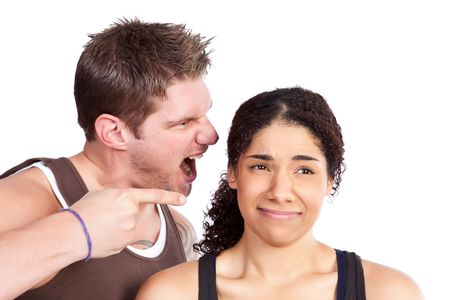 A personal trainer screaming at a woman Stock Photo - 6246008