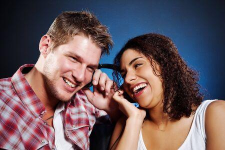 A portrait of a beautiful romantic interracial couple in love Stock Photo