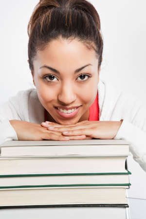 A shot of a beautiful black college student studying Stock Photo - 6347818