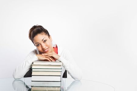 A shot of a beautiful black college student studying Stock Photo - 6347819