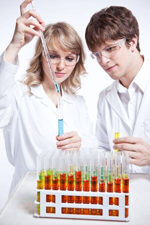 A shot of a male and female caucasian scientists Stock Photo - 6375319