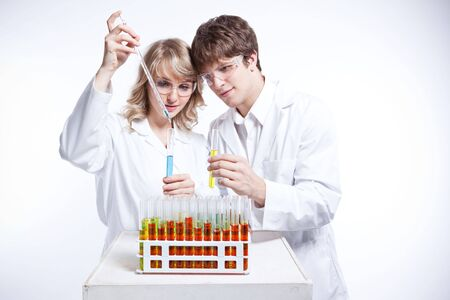 A shot of a male and female caucasian scientists Stock Photo - 6375314