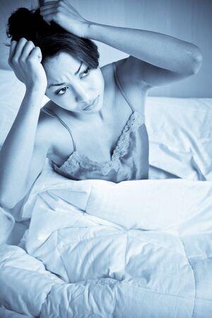 A shot of a black woman having an insomnia photo