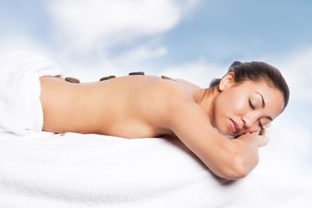 A shot of a beautiful black woman in the spa photo