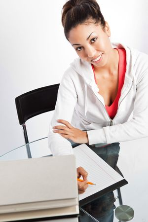 A shot of a beautiful black college student studying Stock Photo - 6470980