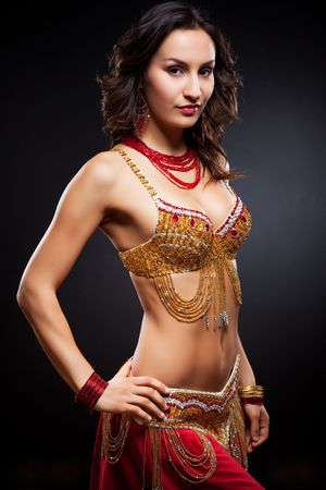 belly dancing: A portrait of a beautiful belly dancer