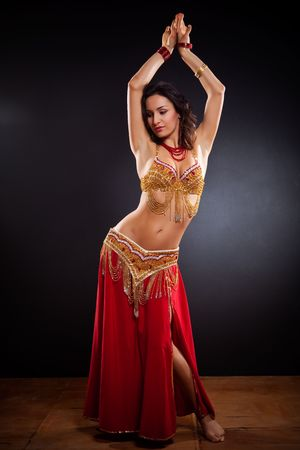 exotic woman: A portrait of a beautiful belly dancer