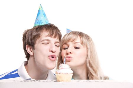A shot of a girl celebrating her birthday with her boyfriend photo