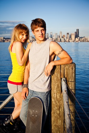 A shot of a young caucasian couple outdoor