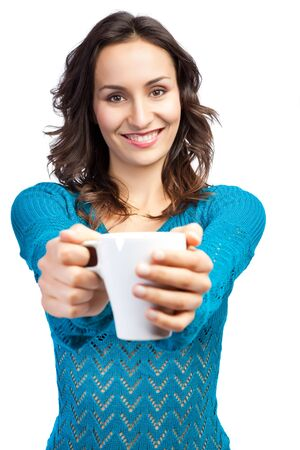 coffee cups: An isolated shot of a beautiful caucasian woman holding a cup of coffee