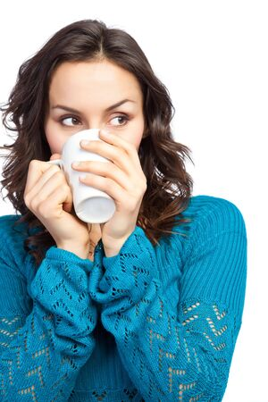 coffee cups: An isolated shot of a beautiful caucasian woman drinking a cup of coffee Stock Photo