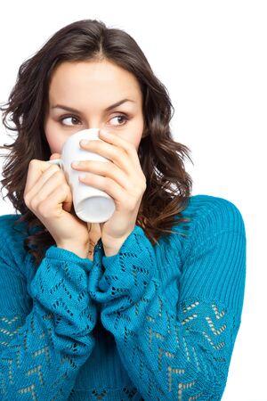 personas tomando cafe: Un disparo aislado de una hermosa mujer cauc�sicos beber una taza de caf�