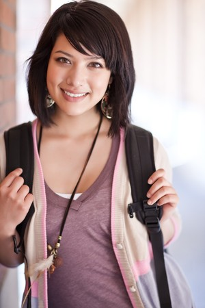 asian school girl: A portrait of a mixed race college student at campus Stock Photo