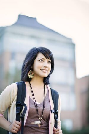 A portrait of a mixed race college student at campus Stok Fotoğraf