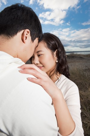 A portrait of an asian couple outdoor