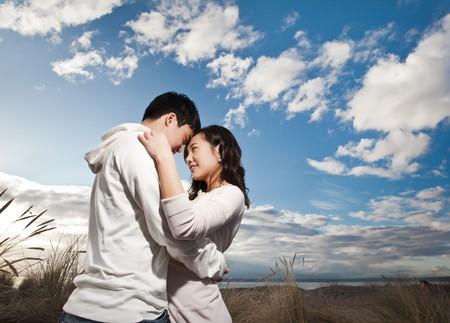 A portrait of an asian couple having fun outdoor photo