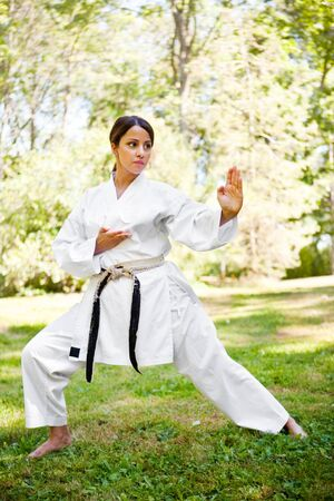 artes marciales: Un disparo de una mujer asi�tica practicando karate